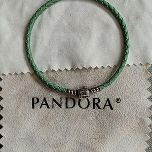 Single strand leather Pandora bracelet